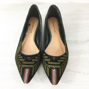 Rampage Velvet Embroidered Caela Flats Size 9